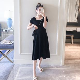 孕妇装夏装显瘦弹力连衣裙时尚中长款冰丝孕妇裙韩版潮妈夏季裙子