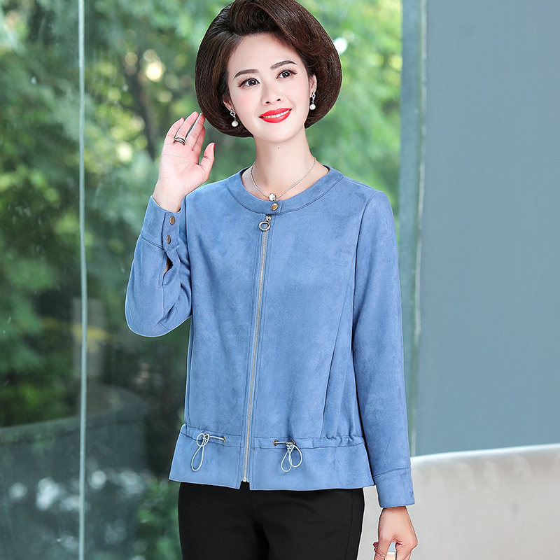 2020 new mothers coat suede top middle aged and elderly womens long sleeve loose thin zipper cardigan