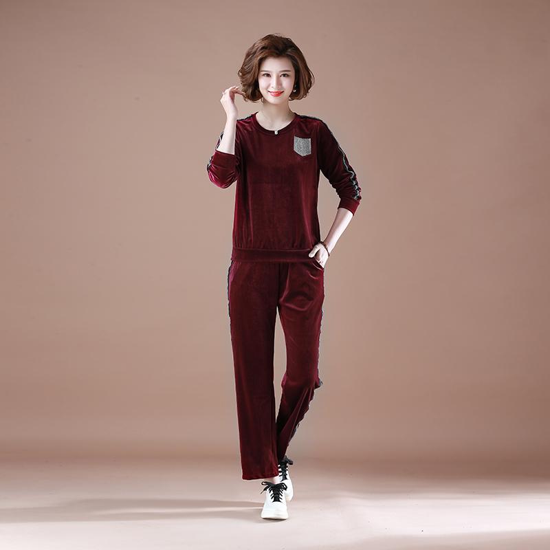 妈妈运动套装女加肥大码休闲中老年五六十大妈穿的衣服40岁50母亲