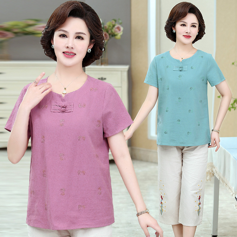 Mothers dress 40, 40, 50, 50 middle-aged womens 60nv short sleeve clothes pants fashion mothers Day suit