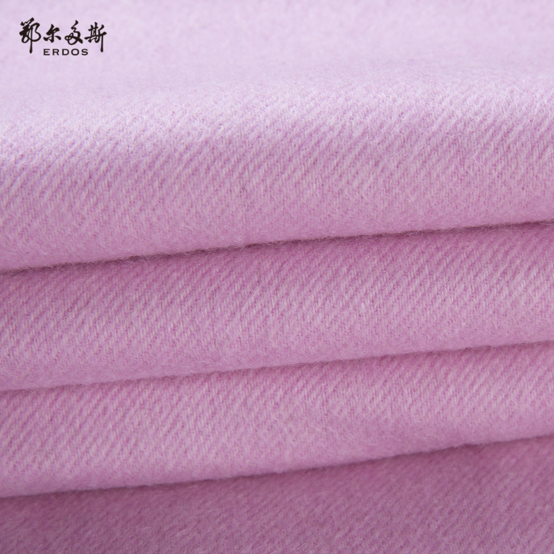 鄂尔多斯 19秋冬新品纯羊绒单层轻水纹女士双色围巾披肩180×70