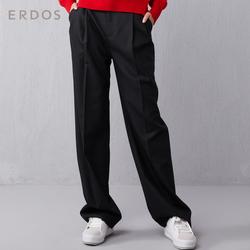 ERDOS 19早秋新品纯色简约女士休闲长裤直筒版型百搭基础款侧插袋