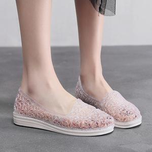 夏季新款水晶洞洞鞋女式沙滩休闲平跟平底软底防滑包头套脚凉鞋
