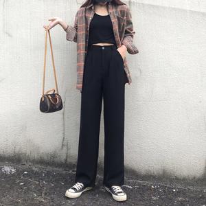 高腰阔腿裤女2019秋冬新款垂感宽松百搭黑色显瘦西装直筒拖地长裤