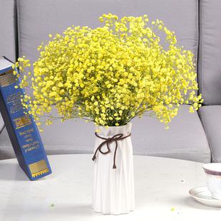 饰客厅摆件插花摆设清新 云南风干真花花束满天星干花带花瓶家居装
