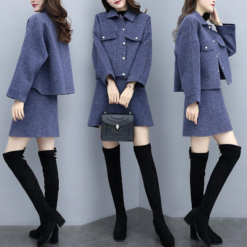 新款秋冬呢子韩版两件套裙外套短裤