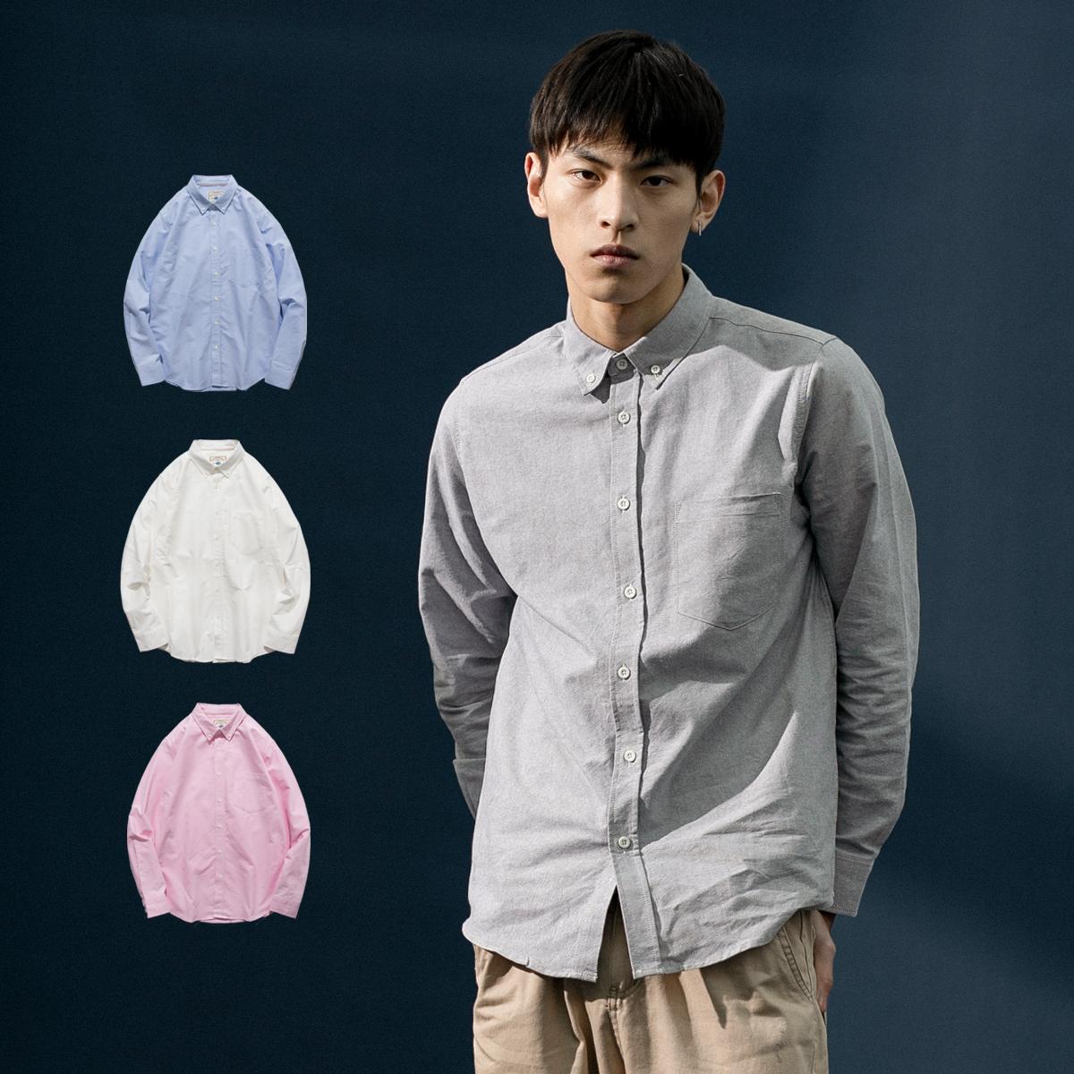 春季纯色男长袖牛津纺休闲ins衬衫(非品牌)