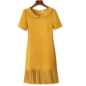 小个子连衣裙女夏季2020新款轻熟风褶皱拼接修身显瘦时尚直筒裙子