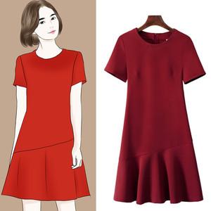 2021夏季新款女装职业连衣裙修身中长款大码短袖气质通勤裙子夏装