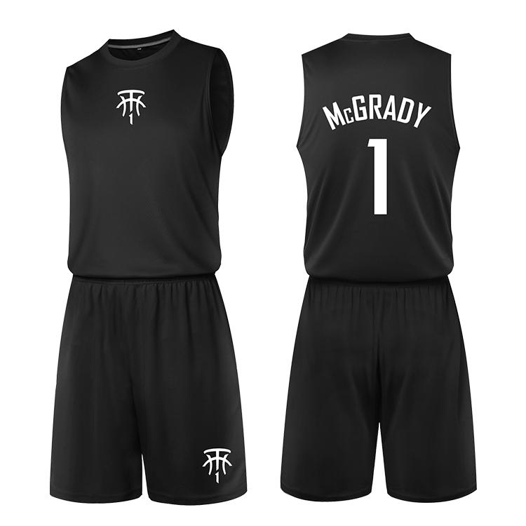 篮球服男训练背心麦迪1号运动训练服宽肩背心街头篮球衣套装印字(非品牌)