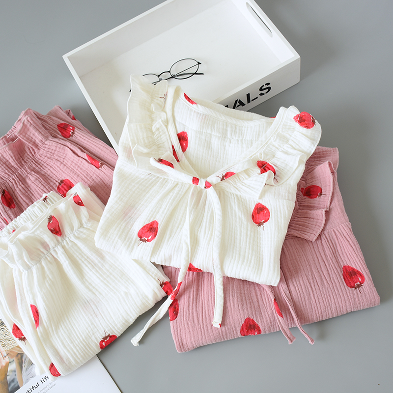 纯棉春秋纱布学生长袖甜美睡衣(用61元券)