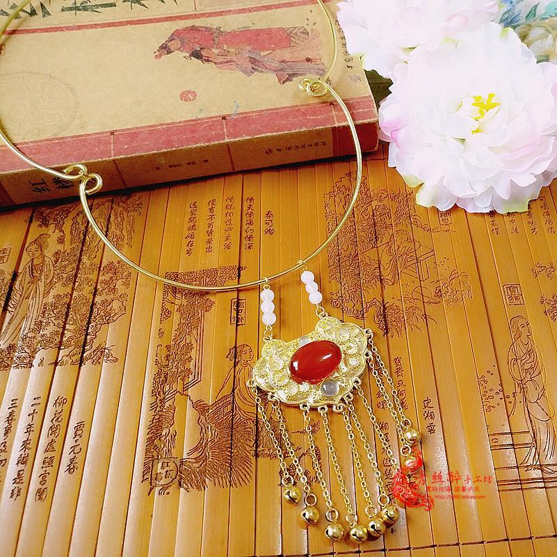 高品质纯铜款 红楼梦贾宝玉 薛宝钗璎珞通灵宝玉项圈 长命锁项链