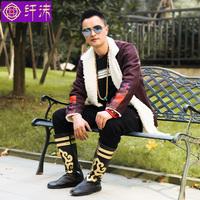 新款藏袍男原创加绒短款西藏民族风服装氆氇藏族服装冬季藏装藏衣