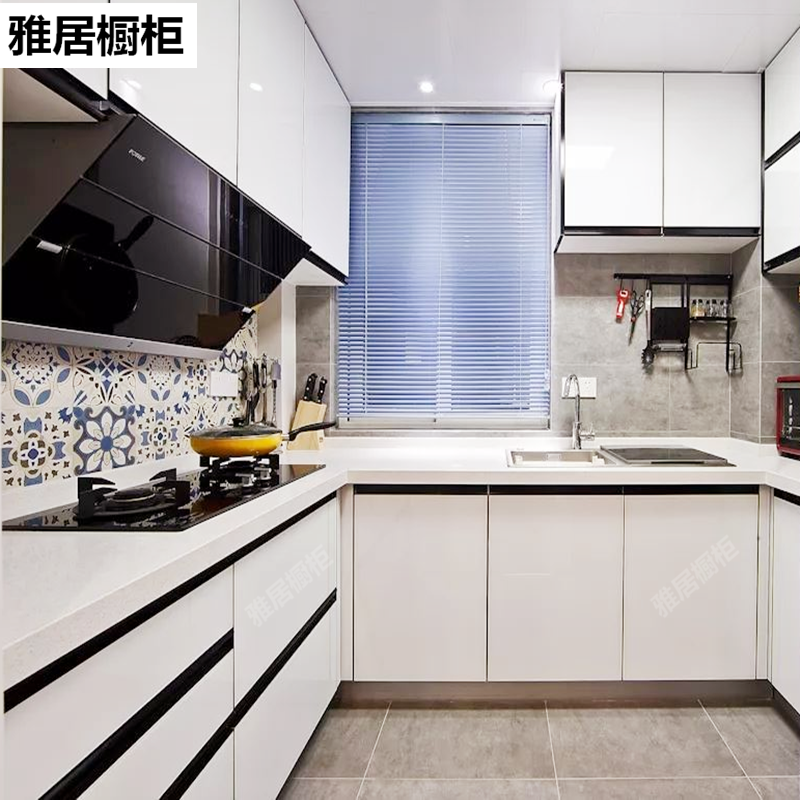Shanghai integrated cabinet whole house customized crystal steel plate kitchen door panel environmental protection rabbit baby quartz stone stainless steel luxury