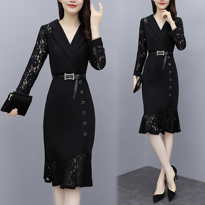 Autumn and spring fashion temperament suit collar lace stitching long sleeve slim waist professional hip fishtail dress