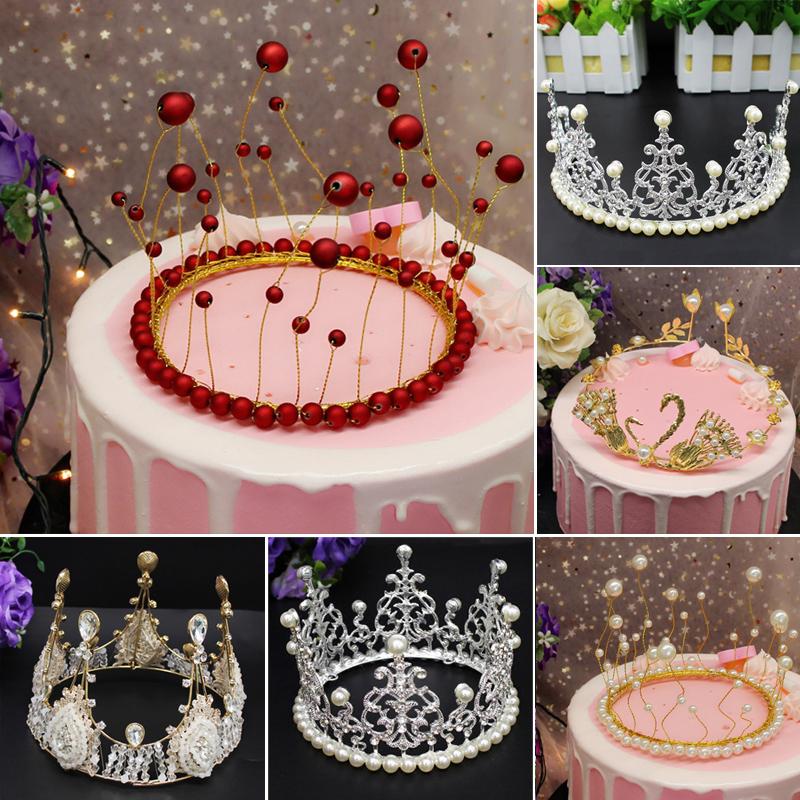 网红蛋糕皇冠装饰 女王王冠帽子烘培派对装饰 海草珍珠6寸8寸皇冠