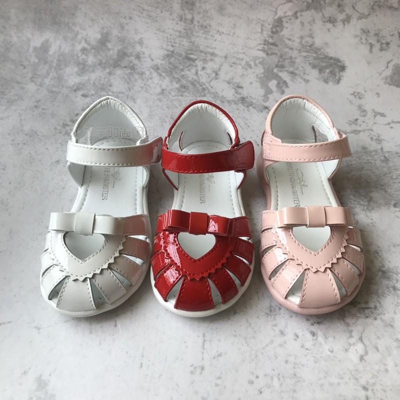 专柜正品兄妹猫童鞋夏款女小童真皮凉鞋公主鞋包头防滑7583