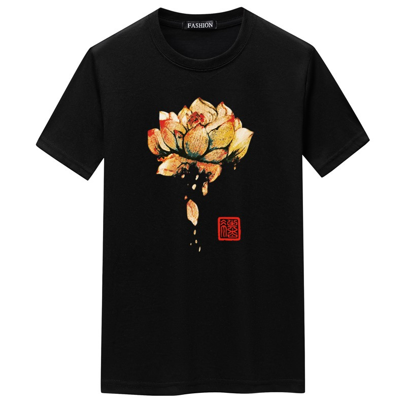 Summer white mens short sleeve pretty boy T-shirt round neck half sleeve loose top fashion T-shirt with lotus pattern