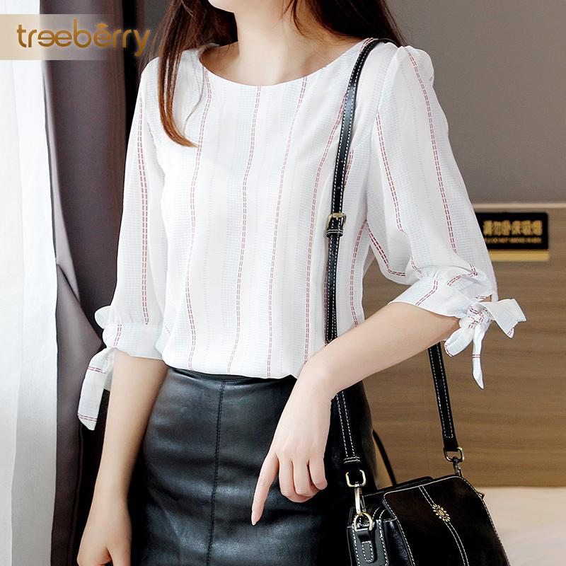 条纹衬衫女2020春夏新韩版收腰显瘦七分袖碎花雪纺衫短袖仙女上衣