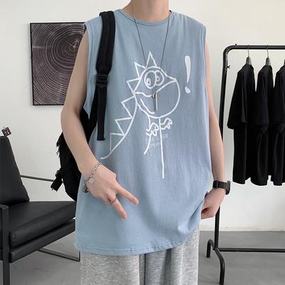 *夏季新款宽松短袖背心T恤学生圆领无袖港风A150-BX21062-P22