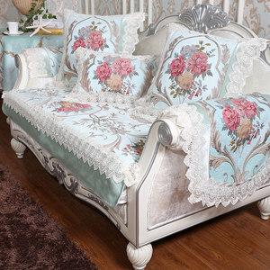 拉斐尔家居 欧式沙发垫雪尼尔布艺坐垫冬季防滑沙发套 雅典娜系列