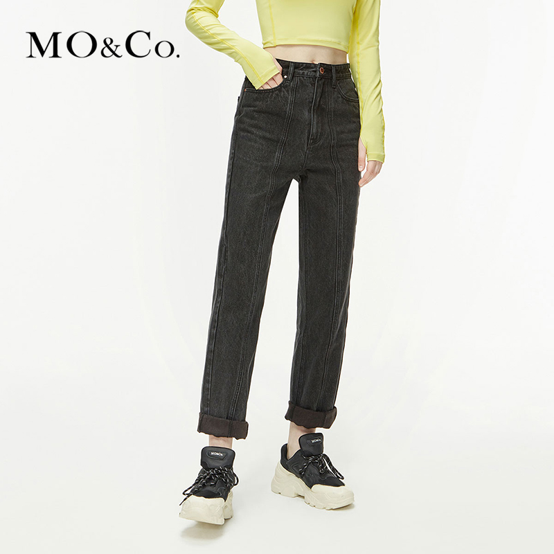 MOCO2020 spring new AALTO co-branded cow black jeans Moanke