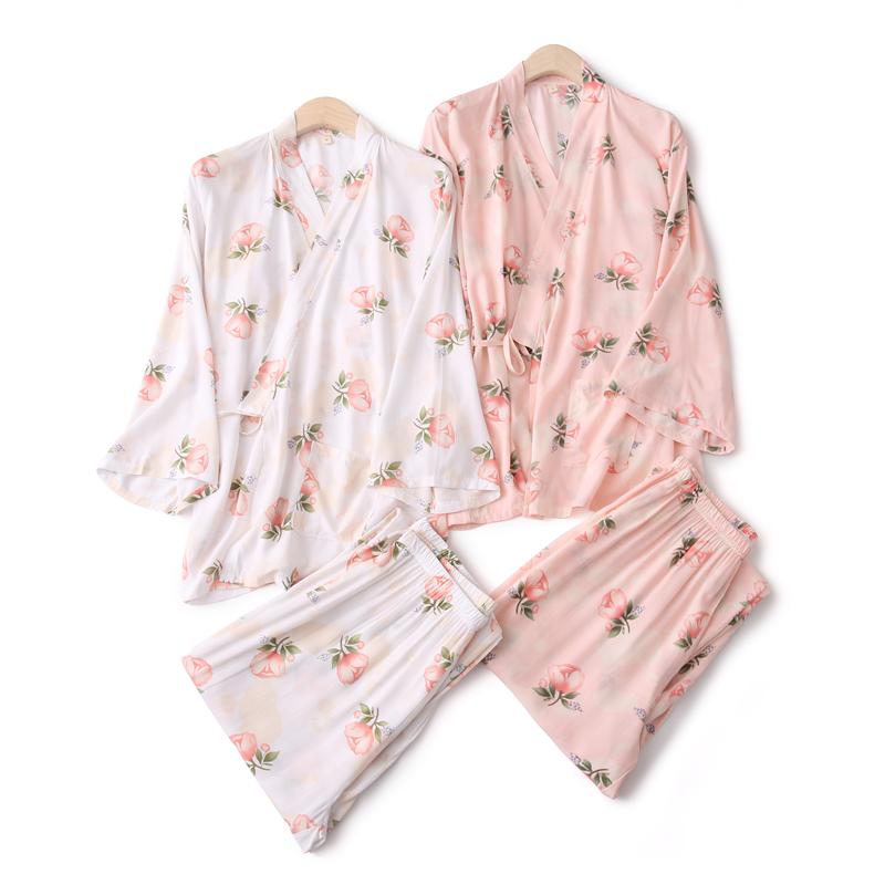 玫瑰和服女睡衣套装春夏季绵绸长袖薄款甚平和风浴袍汗蒸服家居服