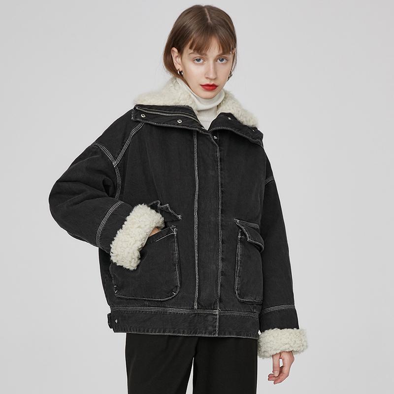 2018冬季新品立领大口袋翻领仿羊羔毛复合内胆加厚黑色牛仔外套女