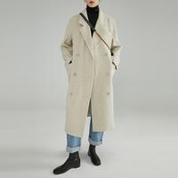 范洛2020冬季新款西装领宽松赫本风毛呢外套女修身中长款呢子大衣