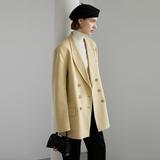 范洛 2019冬季全羊毛温柔鹅黄色气质翻领双排扣手工双面呢西装女