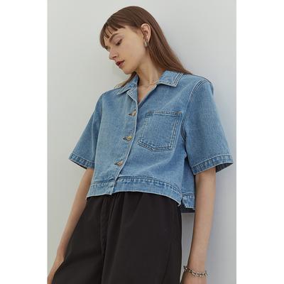 范洛2021夏季新款牛仔衬衫女短袖设计感小众衬衣小个子短款上衣女