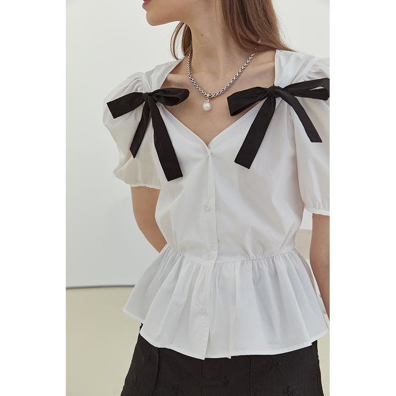 范洛2021夏季新款蝴蝶结法式V领泡泡袖衬衫女设计感小众短袖上衣