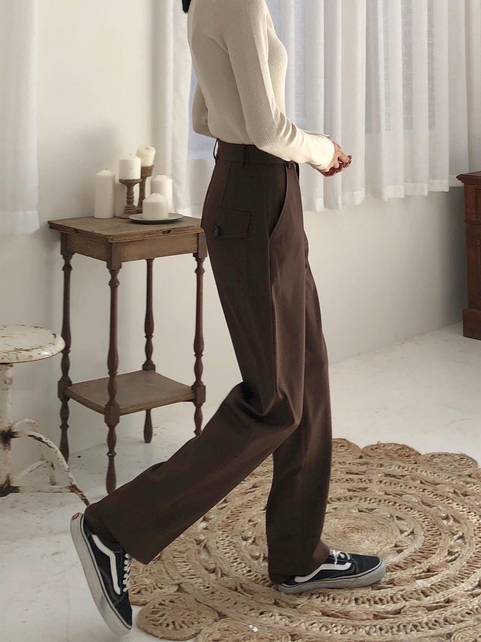 Imzoey chao显高修腿型立体 定制双色 中高腰西裤显瘦休闲长裤