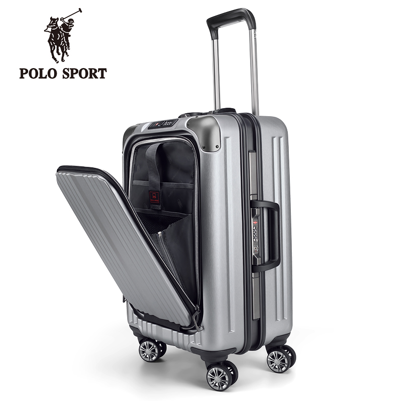 Polo Sport Paul business front flip 20 inch mens and womens boarding boxes 24 inch trolley boxes aluminum frame hard luggage