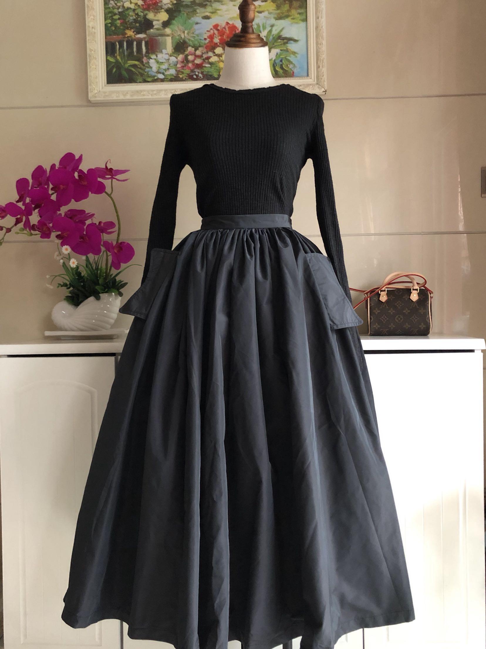 Aluonlineshop retro Hepburn high waist umbrella skirt for women