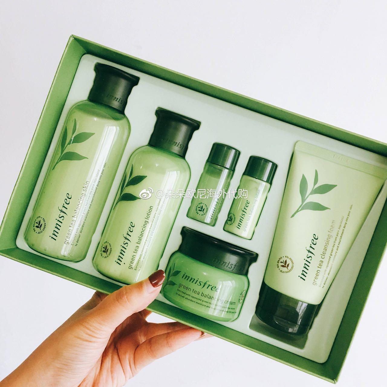 韩国innisfree悦诗风吟绿茶平衡护肤水乳面霜洗面奶四件套盒补水