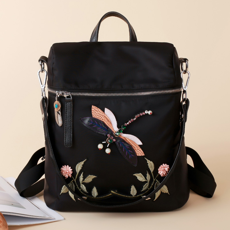 Double shoulder bag women 2021 new embroidered Chinese style fashion versatile shopping travel large capacity waterproof womens backpack