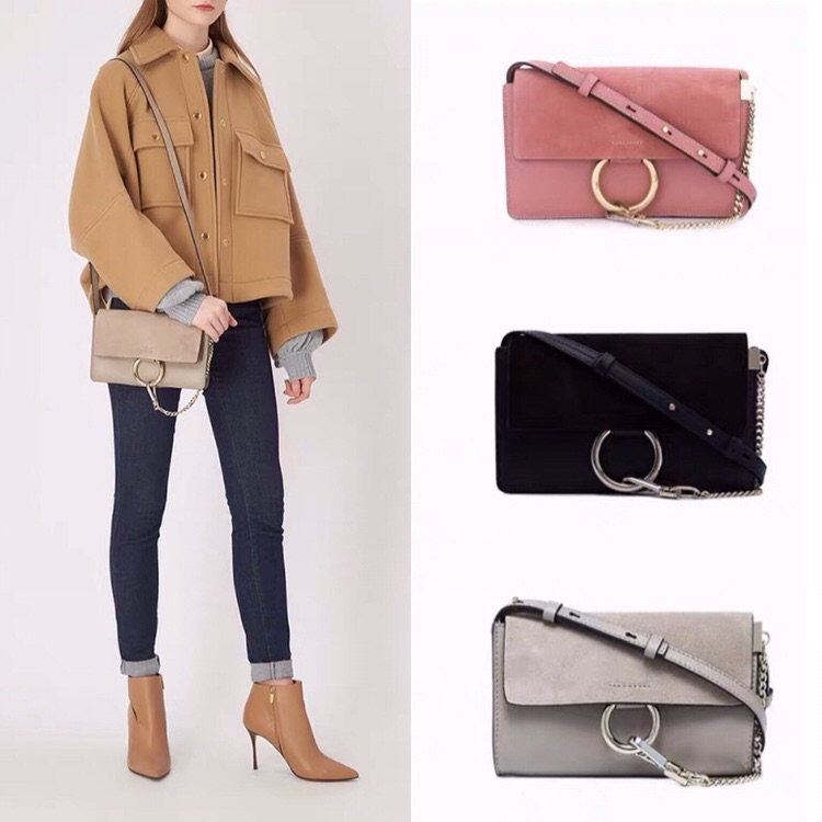 European and American fashion bag chain strip ring bag small square bag 2020 new womens bag Single Shoulder Messenger Bag frosted leather bag