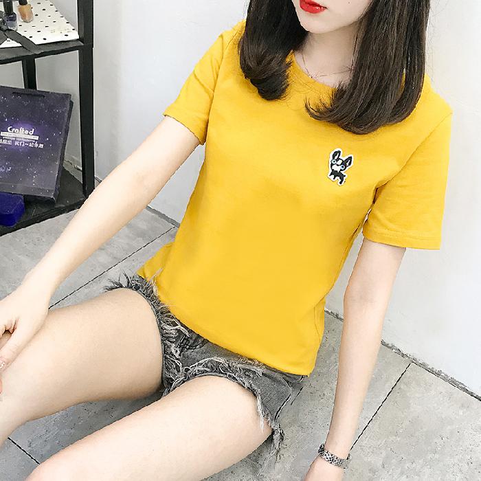 2141# 實拍韓版新款2020夏季純棉刺繡卡通短袖T恤學生(100純棉)