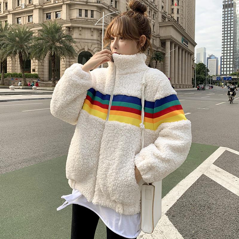 6053#韩国ins羊羔毛外套女冬季新款百搭炸街宽松显瘦拼接彩虹上衣