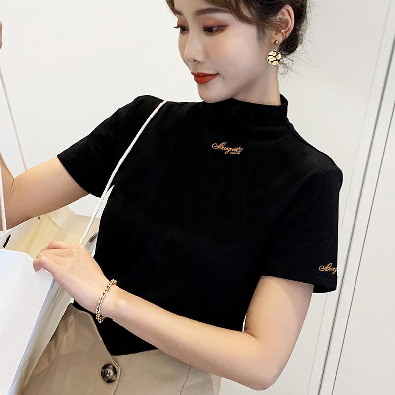 夏天小高领上衣短袖T恤女式打底衫薄款针织修身中袖新款上衣黑色图片