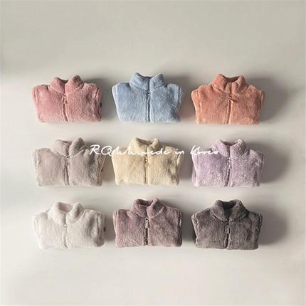 【现货】RQMM韩国童装一家三口马卡龙抓绒保暖拉链毛绒外套亲子装