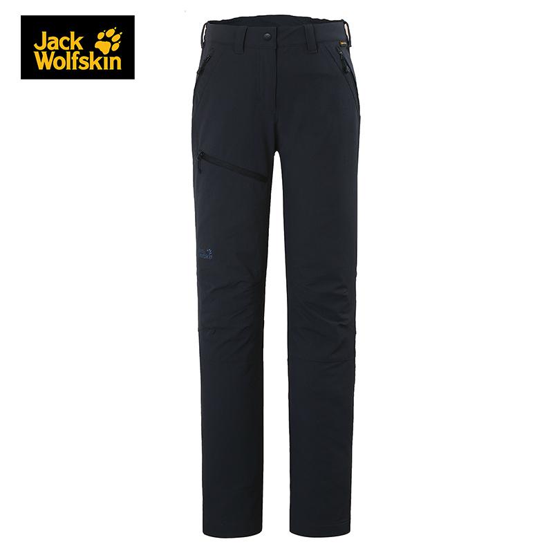 JackWolfskin狼爪防风防泼水柔软舒适直筒女士软壳长裤1501481