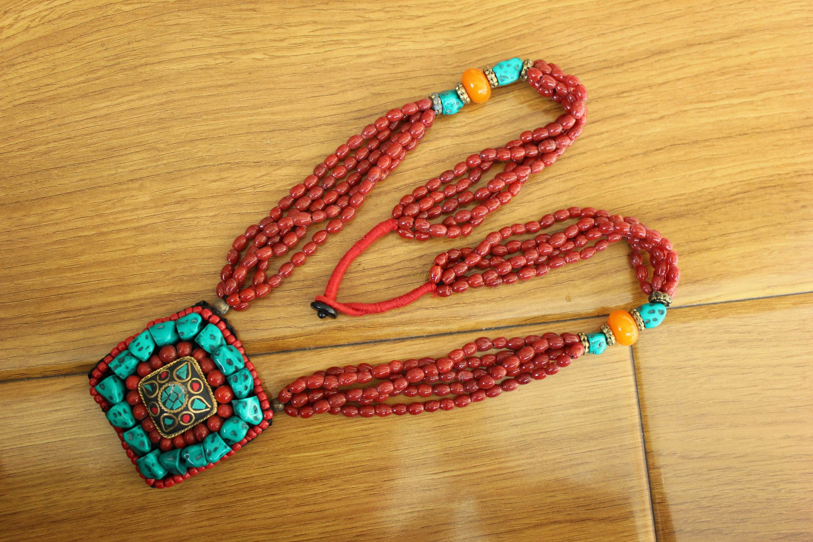 西藏尼泊尔工艺饰品手工宫廷复古藏族女式生锅庄舞蹈活动项链包邮