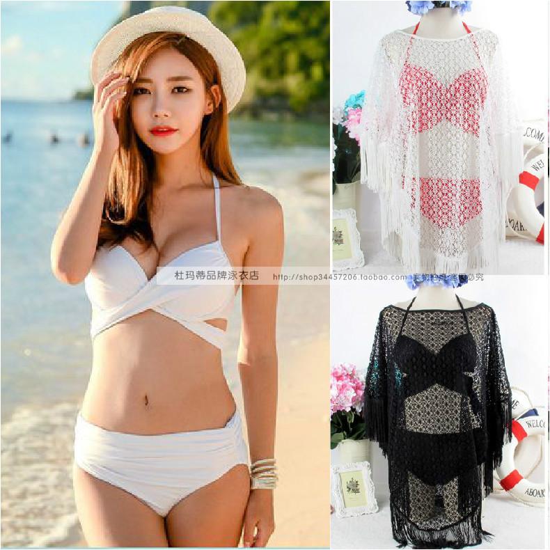 韩版绑带钢托性感温泉比基尼三件套分体游泳衣女大小胸聚拢bikini
