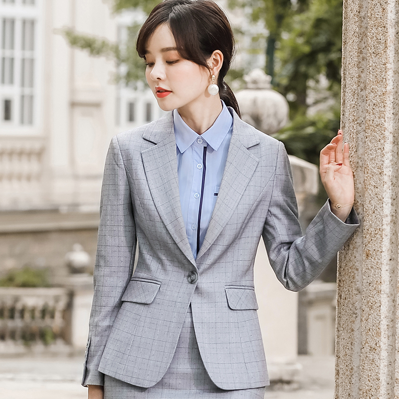 High grade suit womens large long sleeve early autumn 2019 new slim Plaid professional suit two piece suit