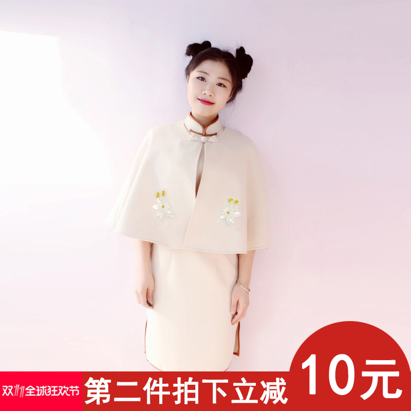 Yn autumn and winter new cheongsam with round collar womens coat