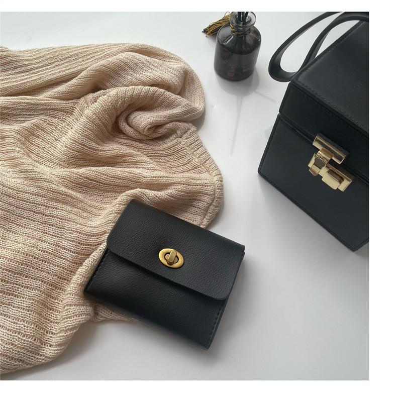韩国新品ins冷淡风自制复古钱包精致黑色小巧卡包软皮驾照证件包