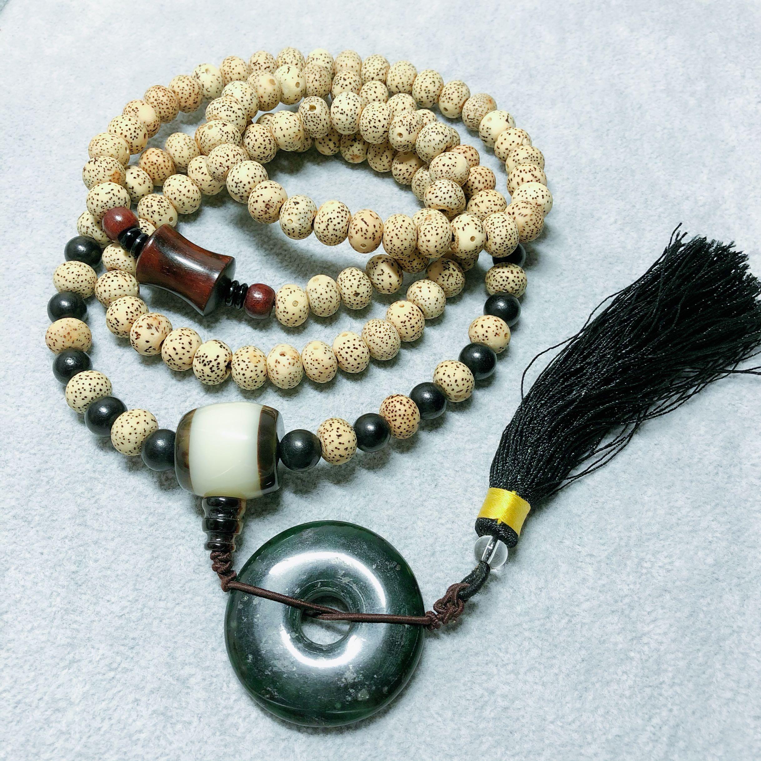 Star Moon Bodhi black jade safety clasp small leaf red sandalwood tassel hand string Buddha bead necklace