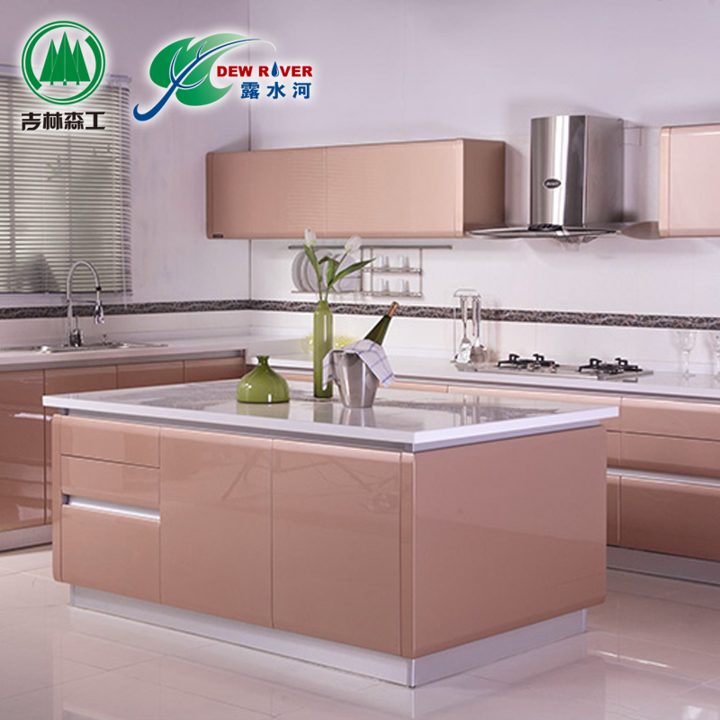 Lushuihe open kitchen overall cabinet customized simple car metal paint kitchen cabinet door overall quartz stone